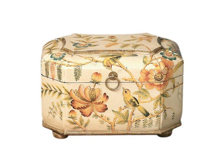 "14"" Bird & Flower Wooden Box"