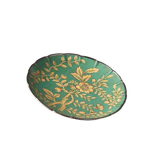 """14"""" Floral Porcelain Plate, Green"""