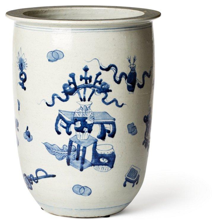 """14"""" Porcelain Planter, Blue/White"""