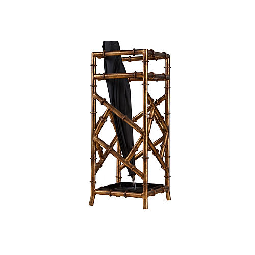 "21"" Bamboo Umbrella Stand, Bronze"
