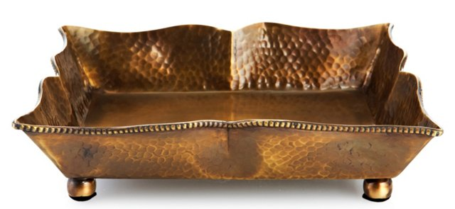 """10"""" Hammered Metal Tray, Brass"""