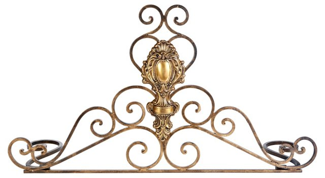 "32"" Tuscan Fireplace Fender, Gold"