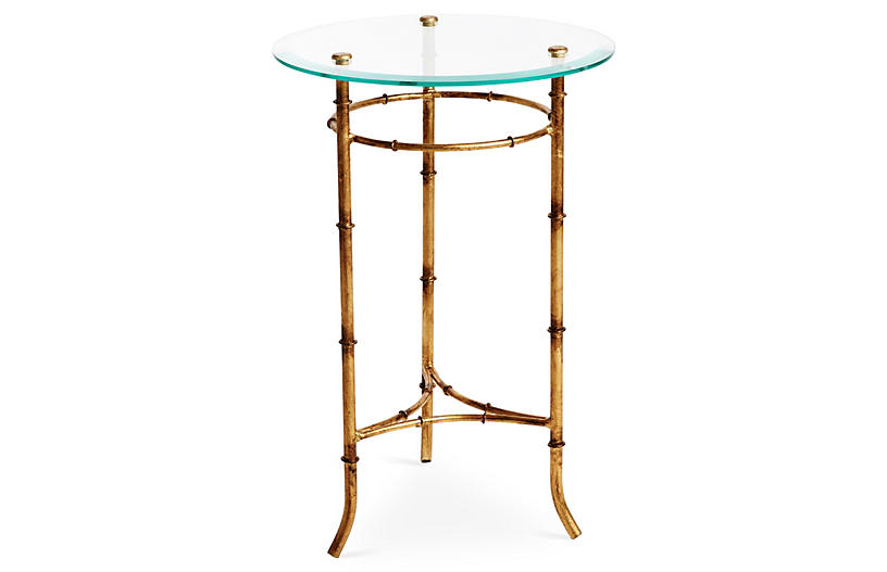 Bamboo Side Table, Gold