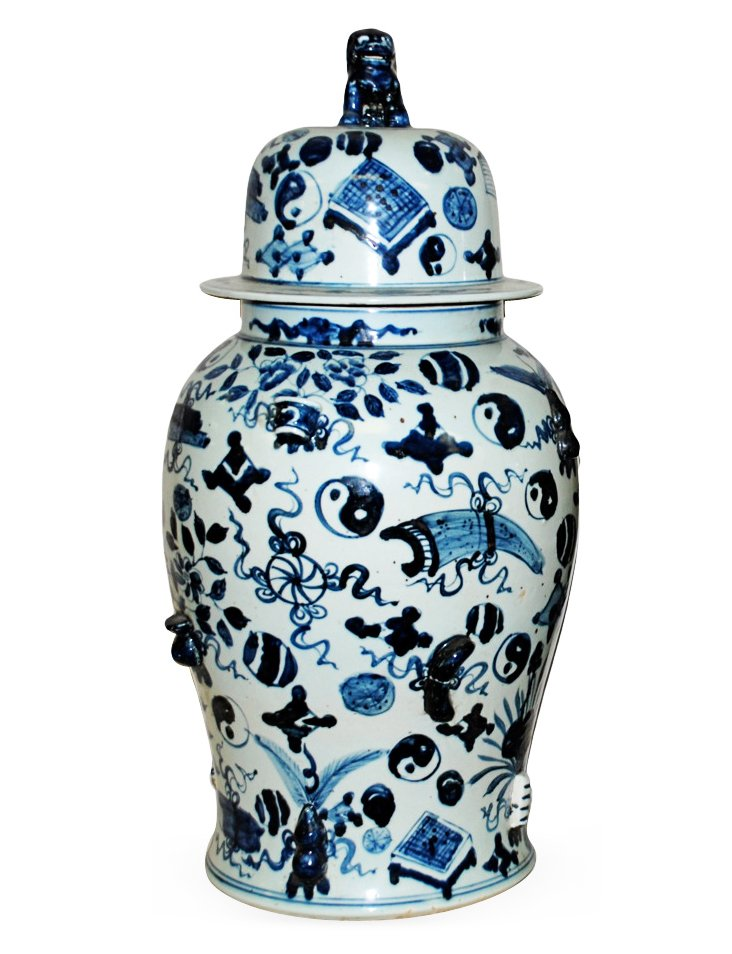 "25"" Covered Temple Jar, Blue/White"