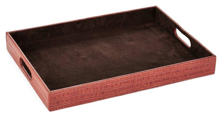 """18"""" Leather Tray, Orange"""