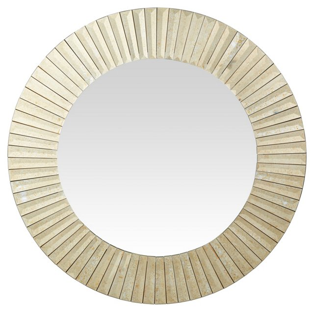 Sunburst Wall Mirror, Antiqued Gold