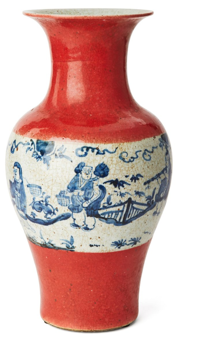 """15"""" Porcelain Jar, Coral/Blue"""