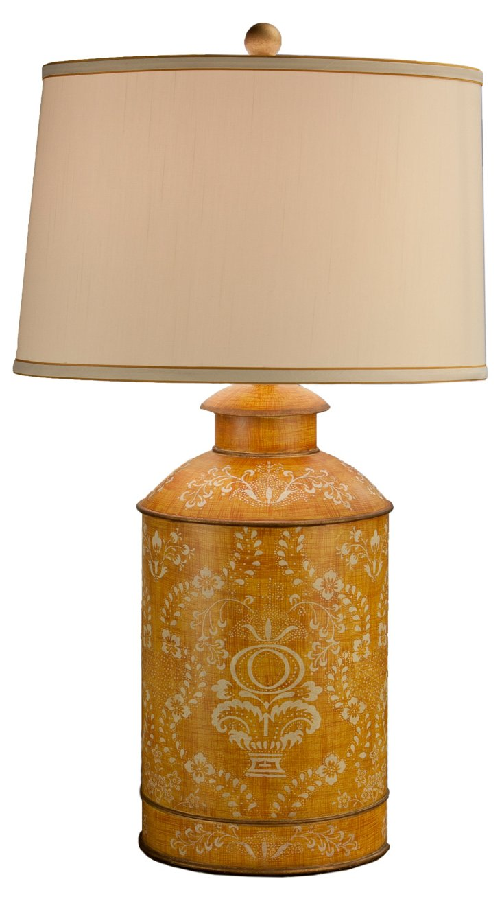 Everly Tea Jar Table Lamp, Yellow Toile