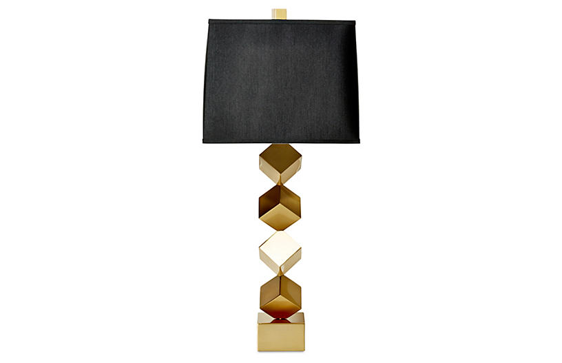 Stacked-Cube Table Lamp, Antiqued Brass