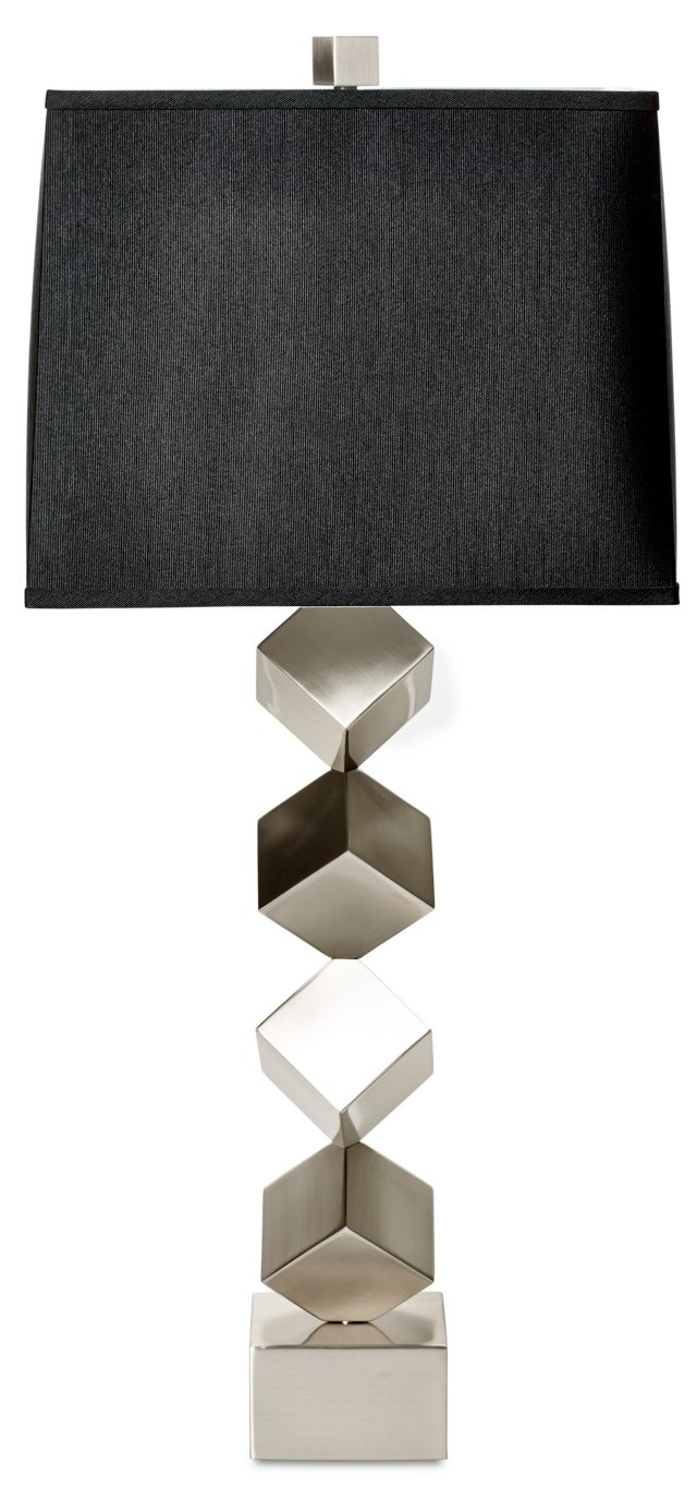 Stacked-Cube Table Lamp, Nickel