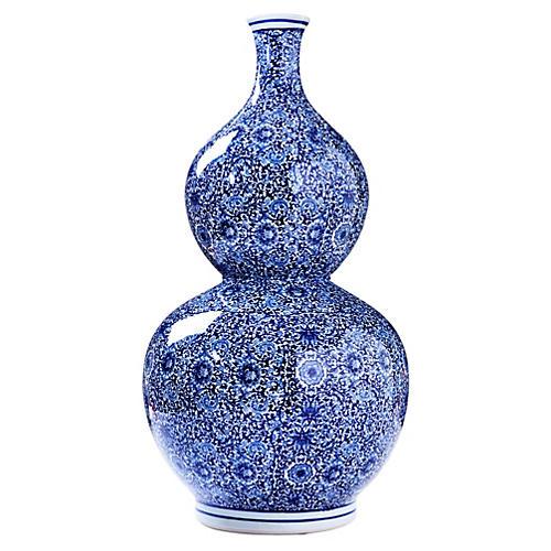 """26"""" Porcelain Gourd Vase, Blue"""