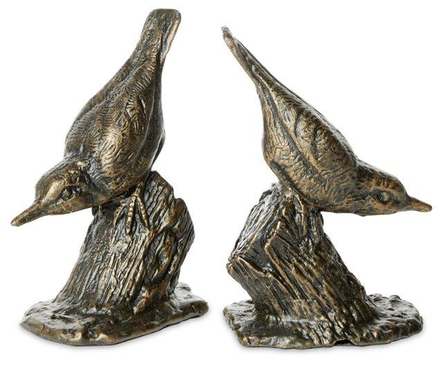 Pair of Hummingbird Bookends, Bronze