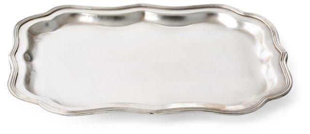 "11"" Brass Thornton Tray, Silver"