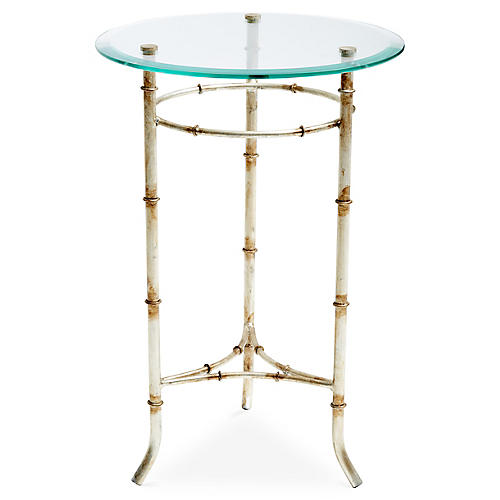 Lorraine Side Table, Antiqued Silver