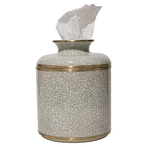 "7"" Alonzo Crackle Tissue Box, White/Gold"