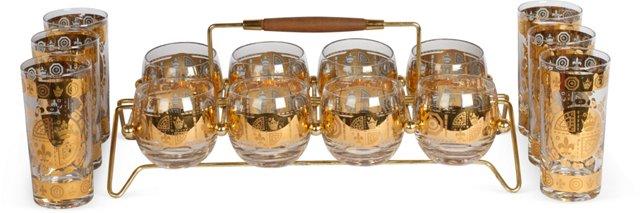 Gold Medallion Glassware Set w/Carrier