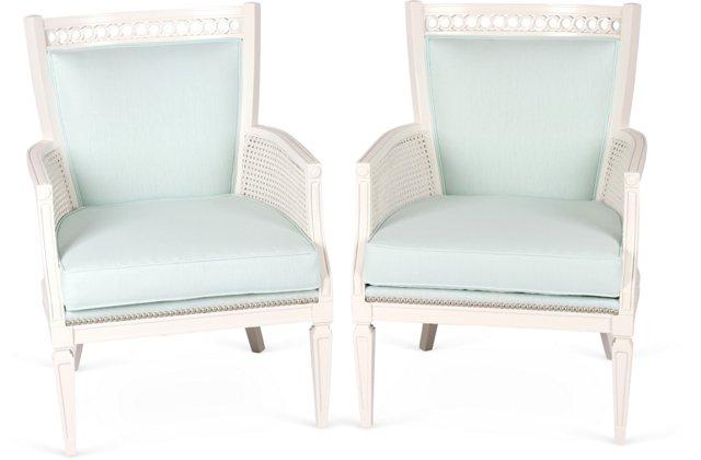 White Cane Chairs w/Nailheads, Pair