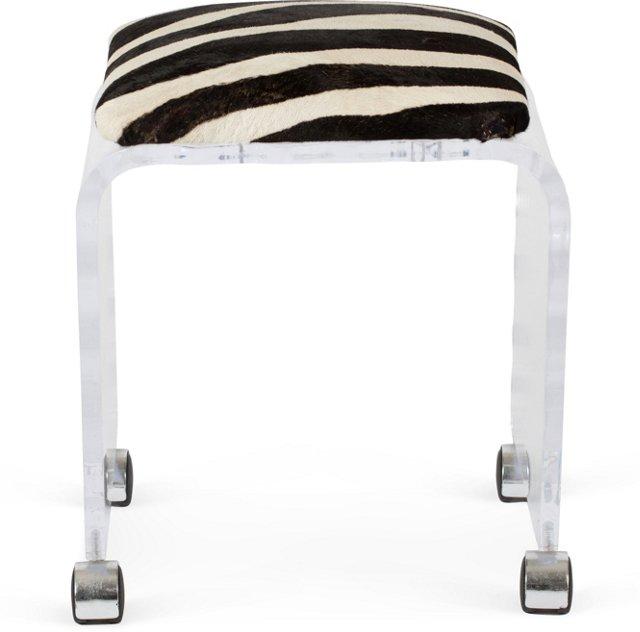 Wavy Lucite Stool w/Zebra Seat