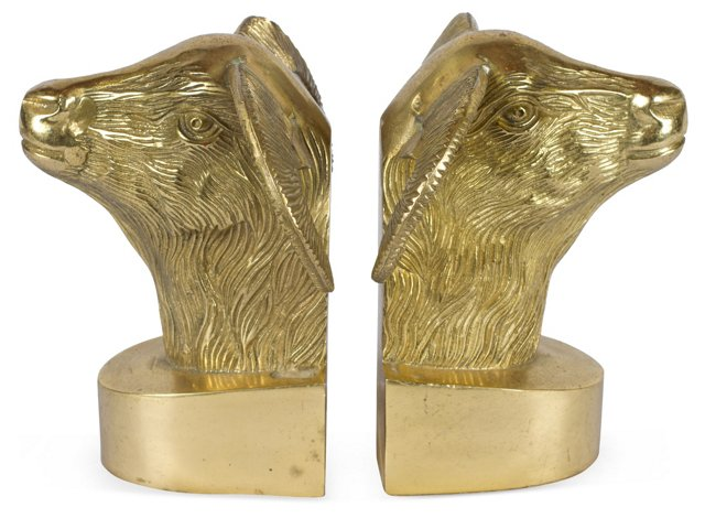 Rams Head Bookends, Pair