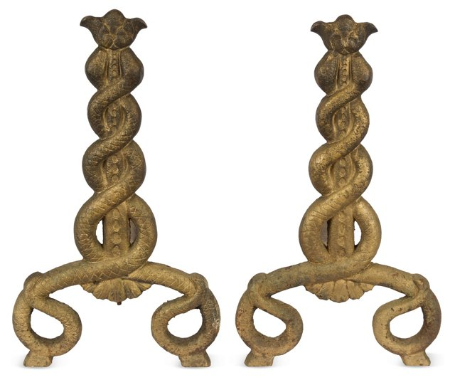 Caduceus Andirons, Pair