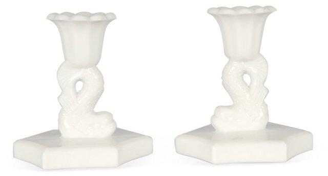 Milk Glass Dolphin Candlesticks, Pair