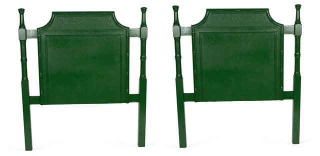 Green Faux-Bamboo Headboards, Pair