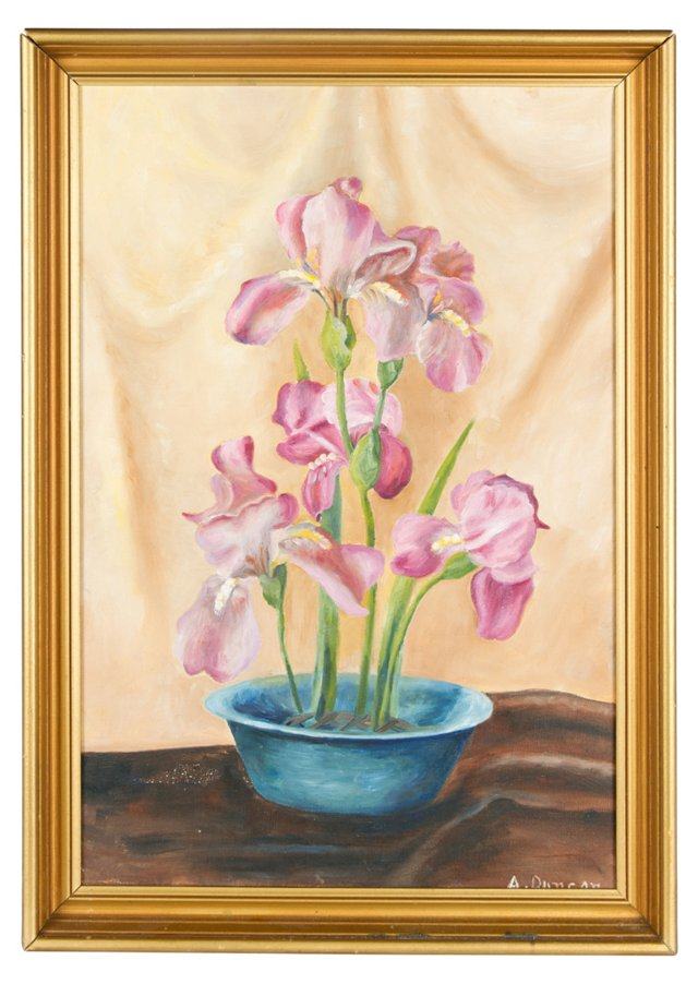 Orchid Oil Painting by A. Duncan