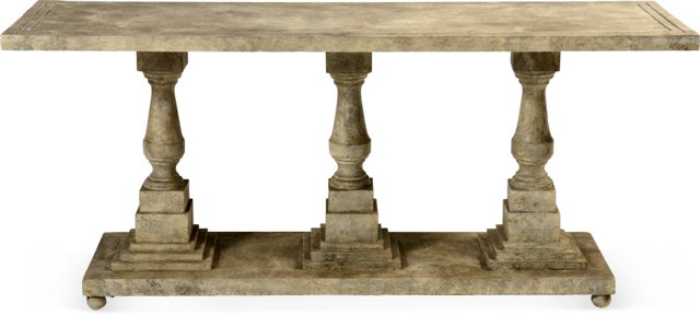 Faux-Stone Console Table