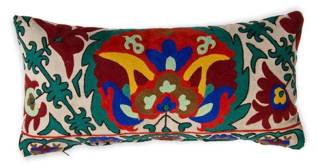 Embroidered Pillow w/ Velvet Back I