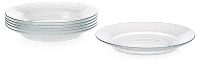 S/6 Lys Soup Plates, Clear