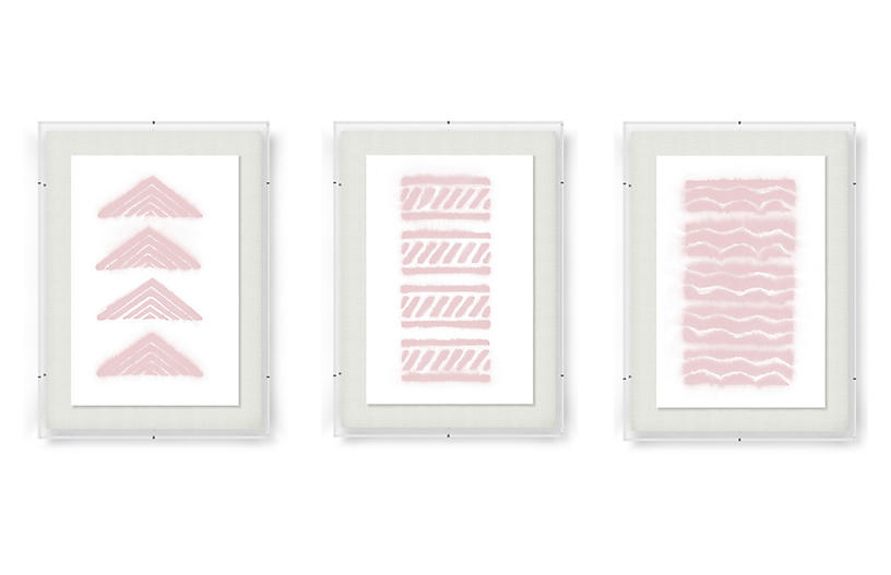 Adrienne Wong, Abstract Triptych-Rose