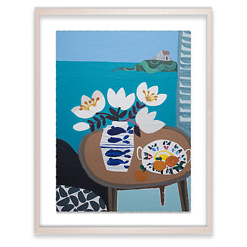White Tulips in Fish Vase, Emma Williams