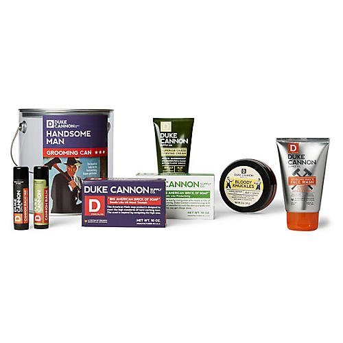 Handsome Man Grooming Can, Clear/Silver