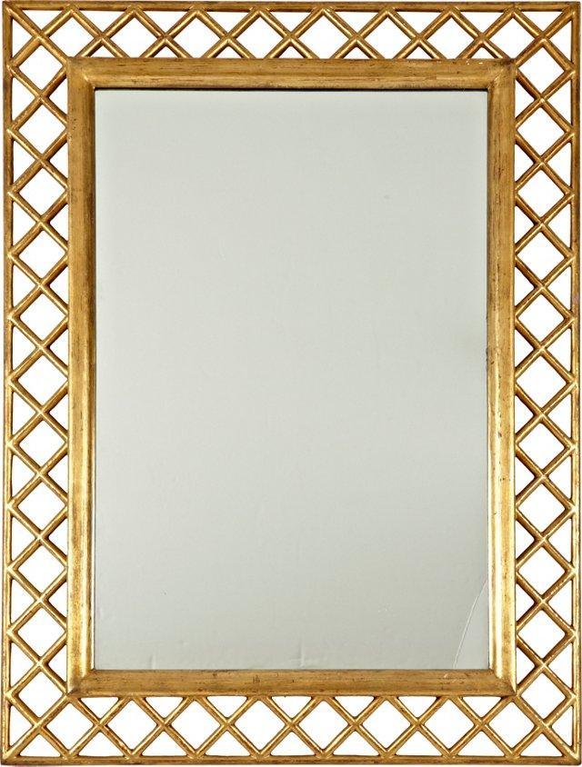 1950s Italian Gilt Lattice Mirror