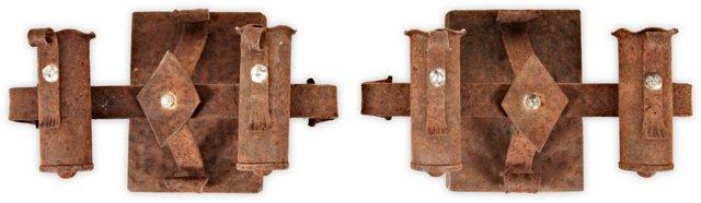 Arts & Crafts Iron Sconces, Pair