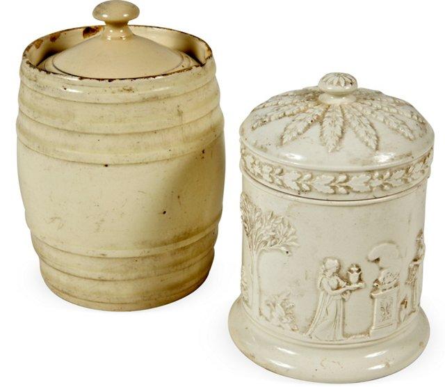Antique English Biscuit Jars, Pair