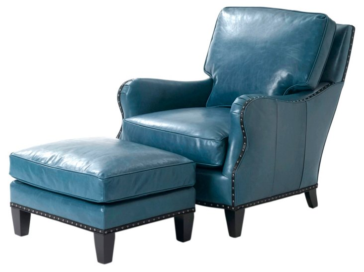 Patrice Leather Chair & Ottoman