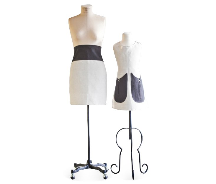 Mother & Daughter Waist Apron Set, Black