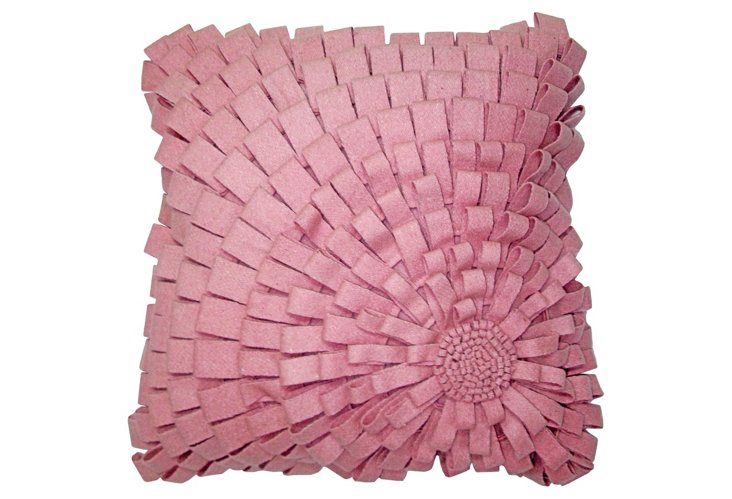 Looped Blooms 18x18 Pillow, Pink
