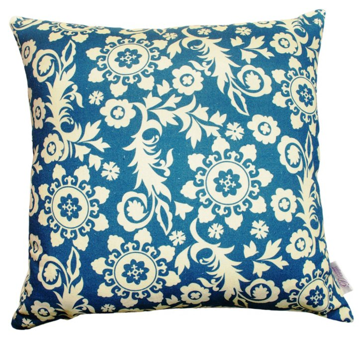 Roopa 20x20 Cotton Pillow, Blue