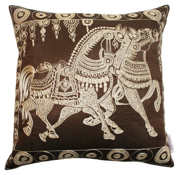 Horse 18x18 Embroidered Pillow, Brown