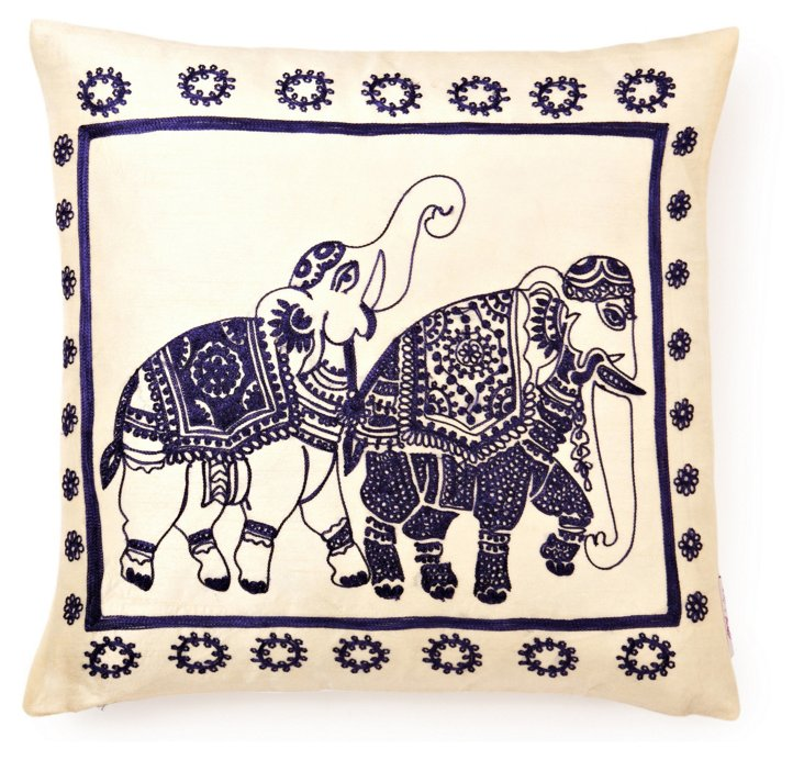 Elephant 18x18 Embroidered Pillow, Navy