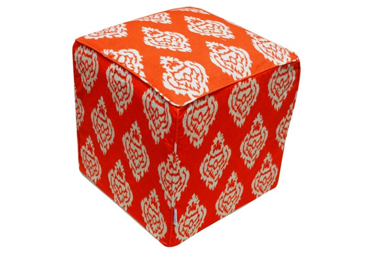 Chloe Damask Pouf, Orange