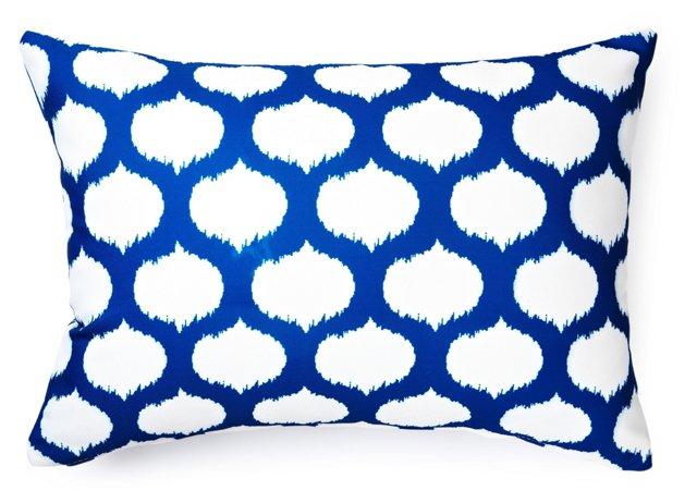 Ikat Circle 14x20 Outdoor Pillow, Blue