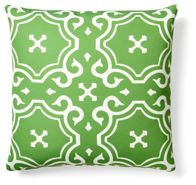 Medallion 20x20 Outdoor Pillow, Green