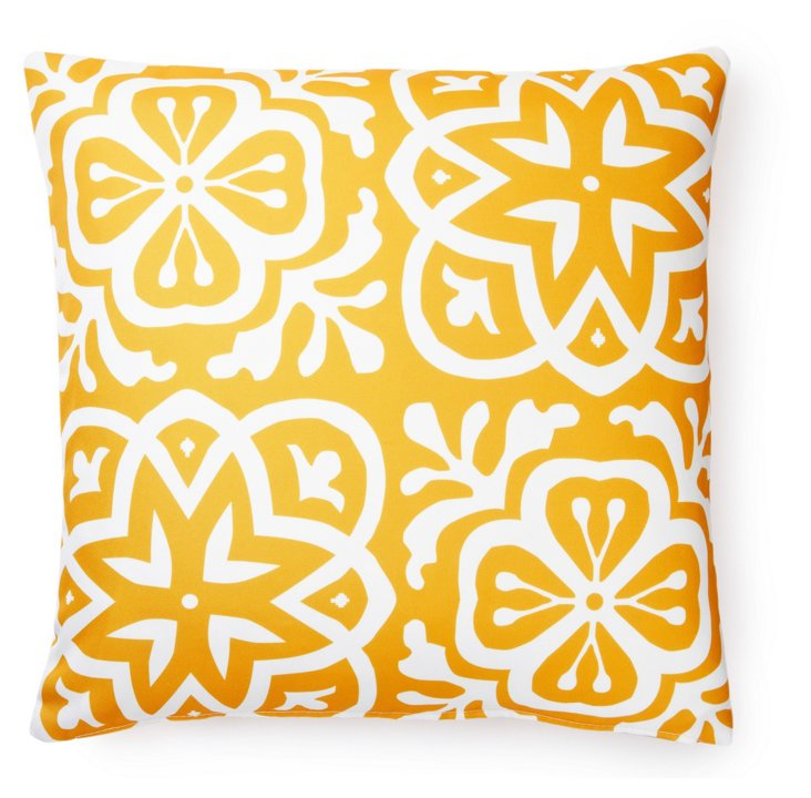 Medallion 20x20 Outdoor Pillow, Yellow