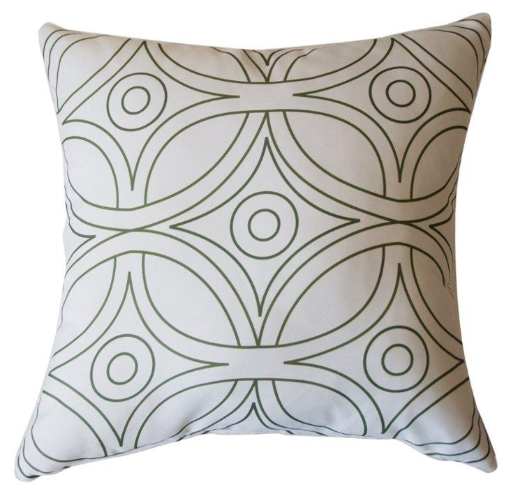 Geo 20x20 Outdoor Pillow, White/Green