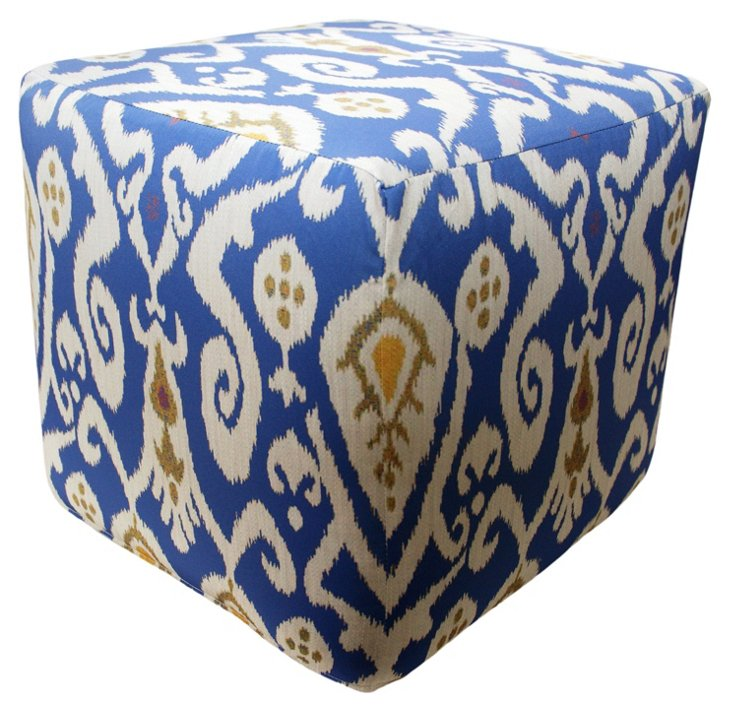 Ikat Outdoor Pouf, Blue/Multi