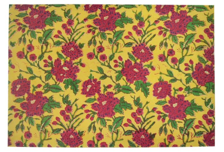 S/4 Meadow Place Mats, Yellow/Red