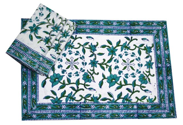 12-Pc BleuBells Place Mat & Napkin Set